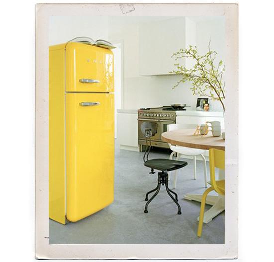 Yellow Smeg refrigerator modern kitchen