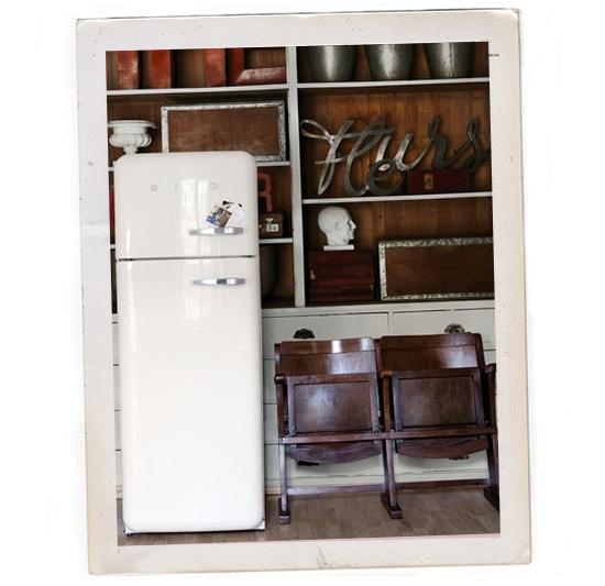 White Smeg refrigerator wall and deco
