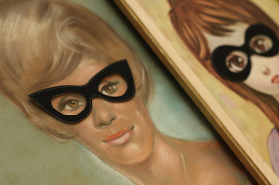 DIY halloween masks on vintage portraits by Danielle Thompson