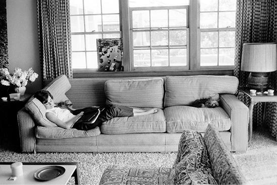 Audrey Hepburn sleeping on sofa with deer Bob Willoughby