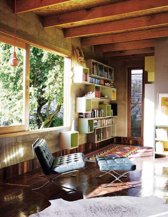 Modern cubby bookshelf barcelona chair