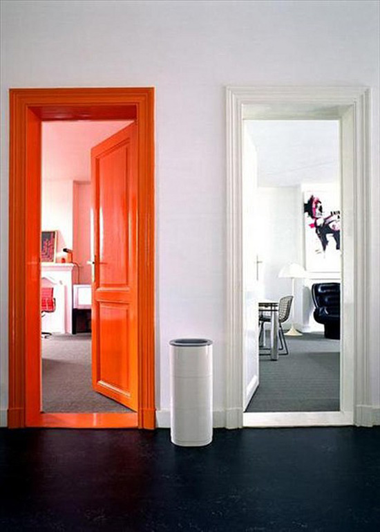 Orange door white door