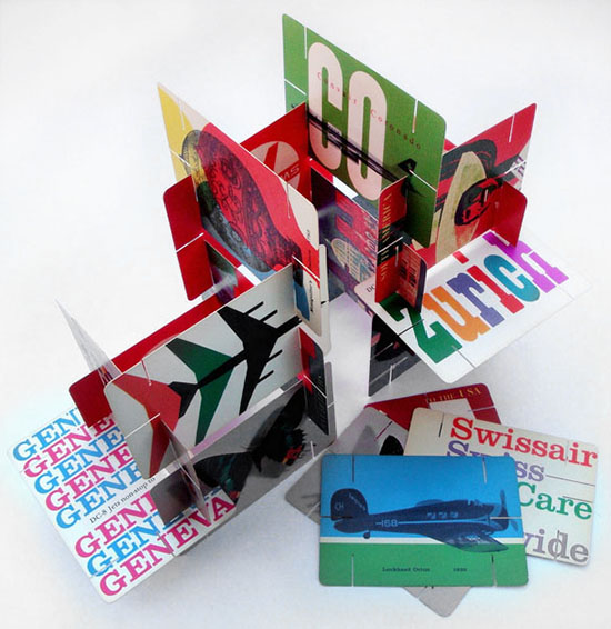 Vintage Swiss air cards Eames style house of cards