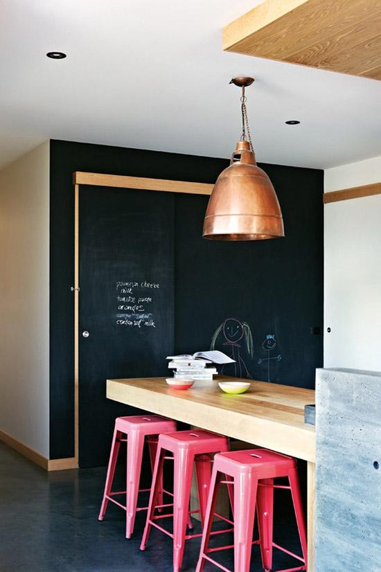 Pink Tolix stools black chalkboard