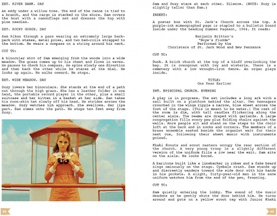Moonrise Kingdom interactive screenplay script Wes Anderson