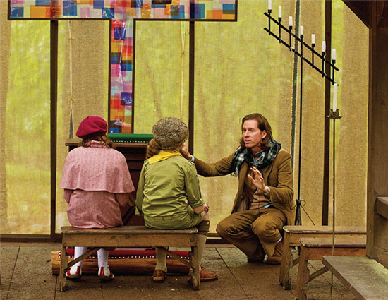 Moonrise Kingdom director Wes Anderson on set