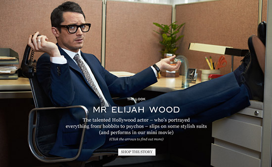 Elijah Wood Mr Porter Mad Men mid century Alexander McQueen
