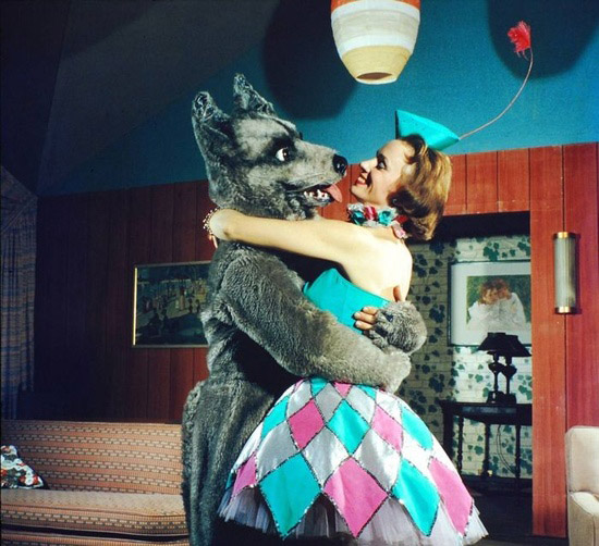 Vintage wolf and woman dancing
