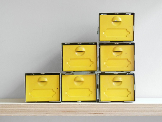 Yellow vintage metal box storage