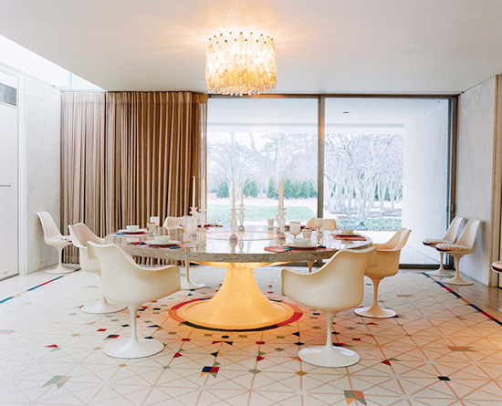 Alexander Girard Miller house light up Saarinen marble and terrazzo table Leslie Williamson