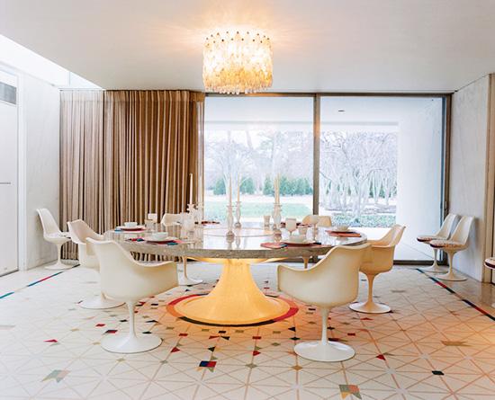 Alexander Girard Miller house light up Saarinen marble and terrazzo table Leslie Williamson