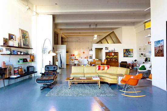 Kelly reemtsen downtown artist loft downtown los angeles eames rocker and lounger