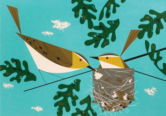 Charley Harper birds nest