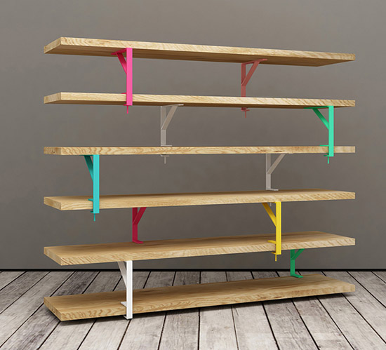 Elia Maurizi and Francesco Pepa ikea hack bookcase colored brackets