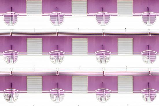 Purple balcony beach hotel facades Jesolo Beach Venice Luigi Bonaventura photography