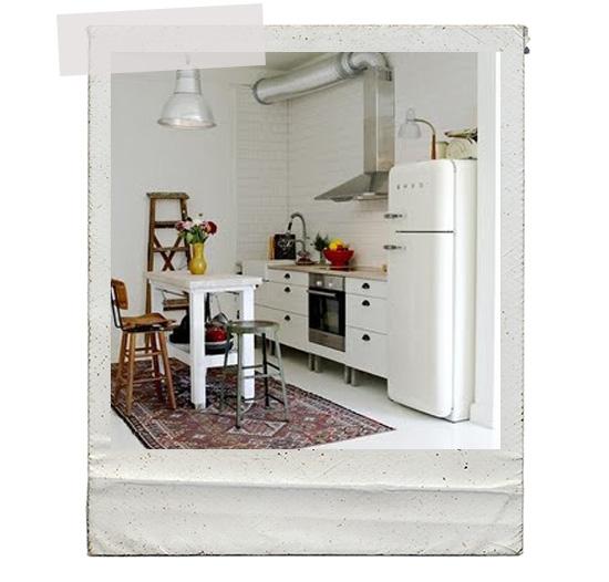 White Smeg refrigerator small kitchen