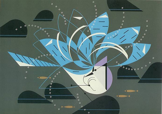 Blue Jay Bathing Charley Harper