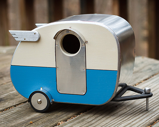 Vintage Camper Birdhouse with wings