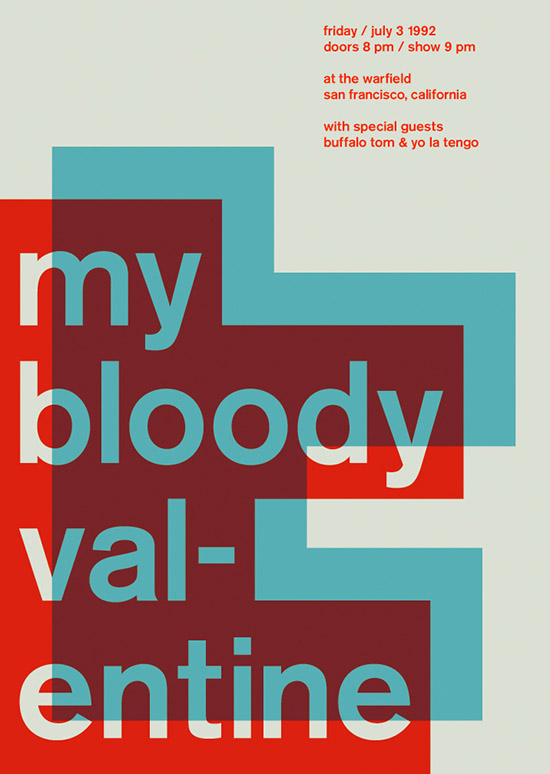 My Bloody Valentine SWISSTED Vintage Rock Posters Remixed and Reimagined by Mike Joyce