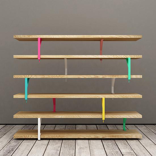 Elia Maurizi and Francesco Pepa ikea hack book shelf colored brackets