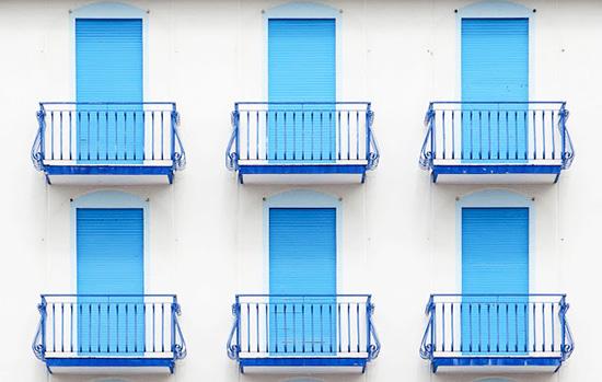 Vintage turquoise balcony beach hotel facades Jesolo Beach Venice Luigi Bonaventura photography