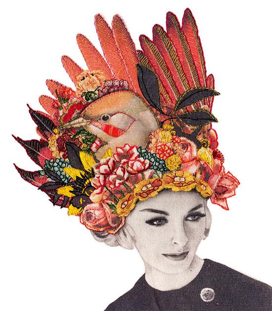 Embroidered bird hat collage Laura MckKellar