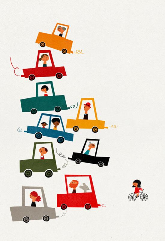 Traffic jam print by Blanca Gomez