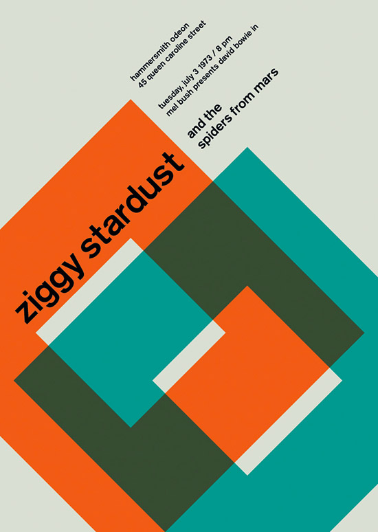 Ziggy Stardust SWISSTED Vintage Rock Posters Remixed and Reimagined by Mike Joyce