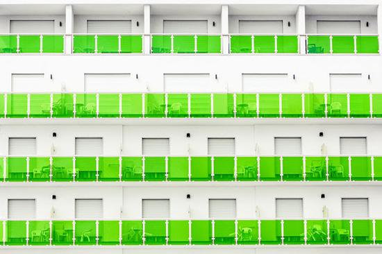 Green balcony beach hotel facades Jesolo Beach Venice Luigi Bonaventura photography