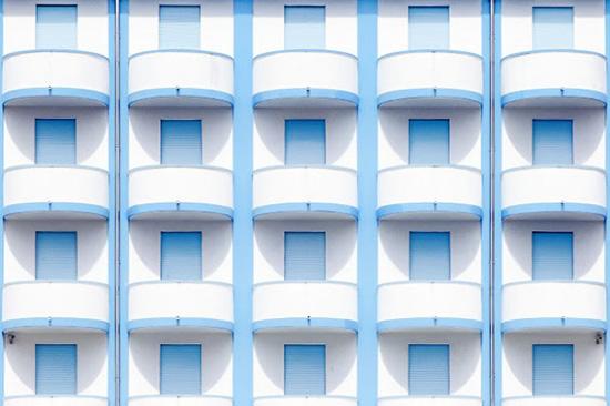 Vintage blue balcony beach hotel facades Jesolo Beach Venice Luigi Bonaventura photography