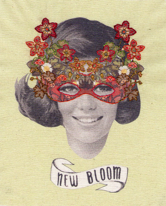 Embroidered flower mask collage Laura MckKellar