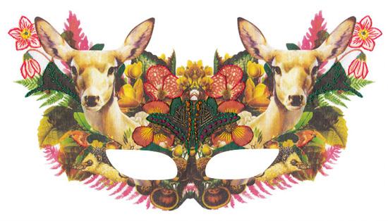 Embroidered deer woodlands mask Laura MckKellar copy