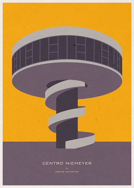 Centro Niemeyer Museum Architecture Illustration by Andre Chiote