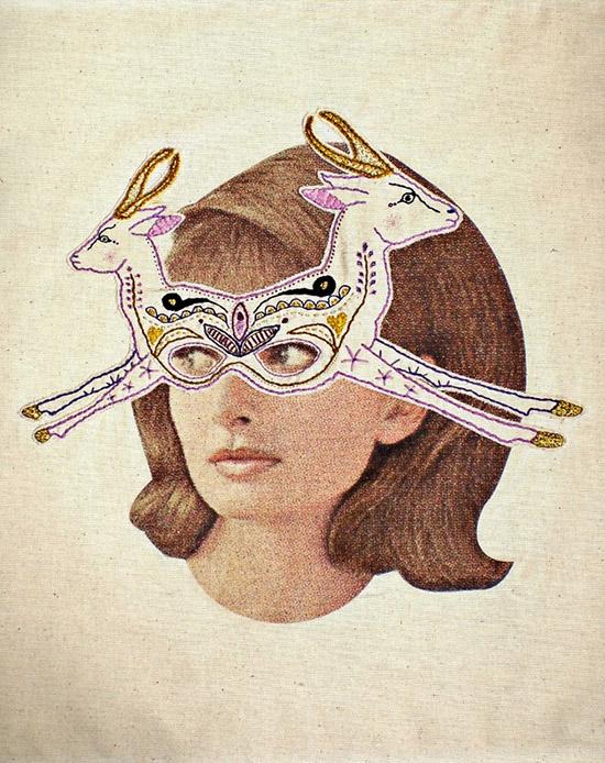 Embroidered deer mask collage Laura MckKellar