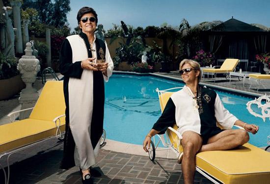 Michael Douglas Matt Damon poolside Liberace Behind the Candelabra HBO