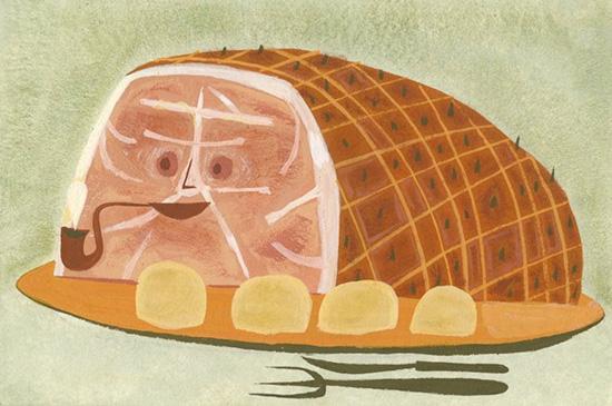 Matte Stephens Glazed Ham gouache painting