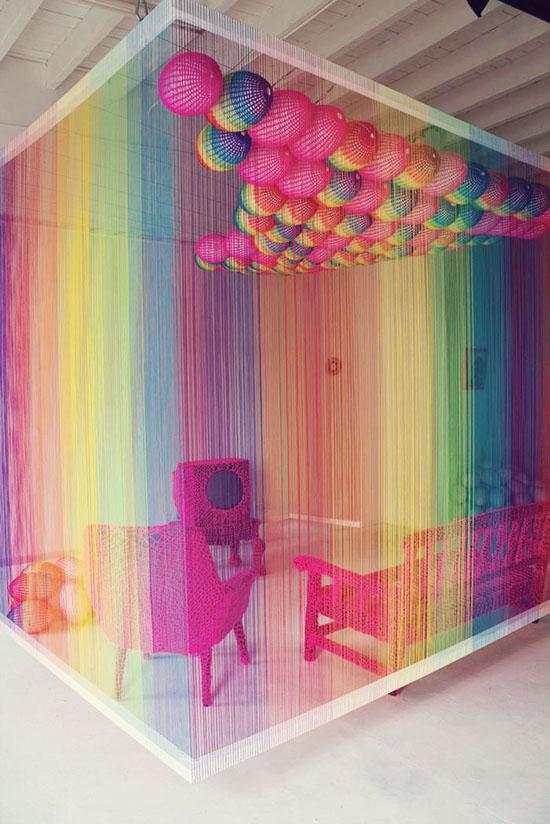 The Rainbow room yarn walls by Pierre Le Riche