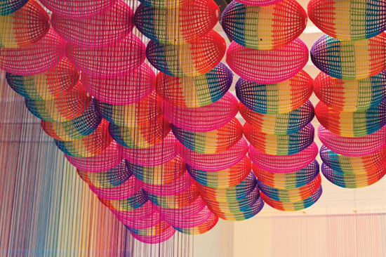 The Rainbow room yarn ceiling by Pierre Le Riche