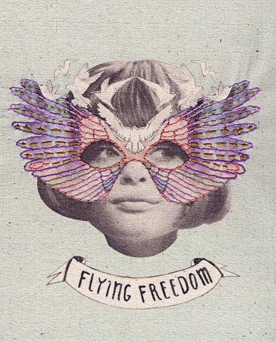 Embroidered dove mask collage Laura MckKellar