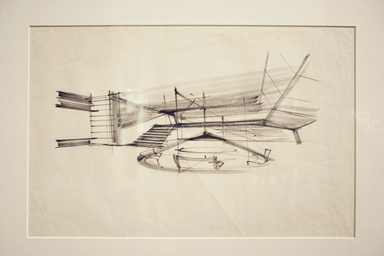 War Room production sketch Dr Strangelove by Ken Adam Kubrick LACMA