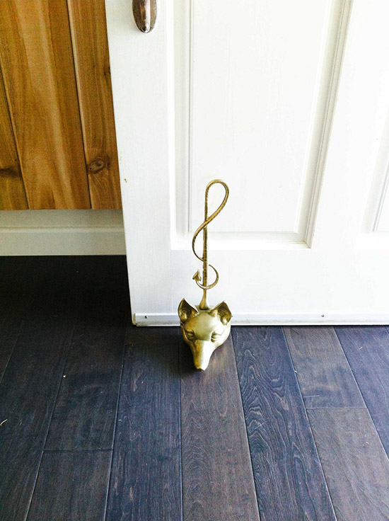 Brass fox head door stop santa monica home dabito