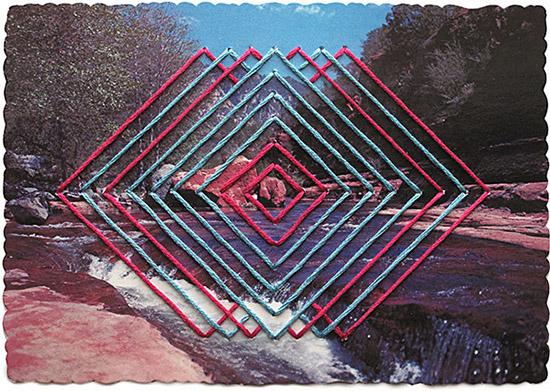 Shaun Kardinal embroidery vintage postcard red blue