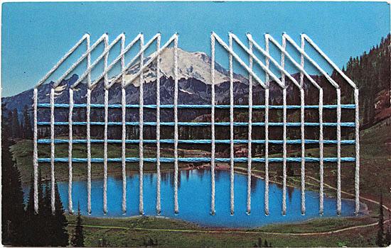 Shaun Kardinal embroidery vintage postcard white blue