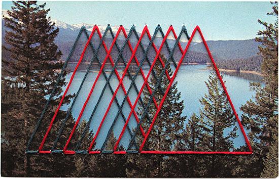 Shaun Kardinal embroidery vintage postcard blue red triangle