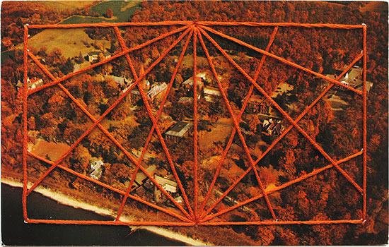 Shaun Kardinal embroidery vintage postcard orange rectangle