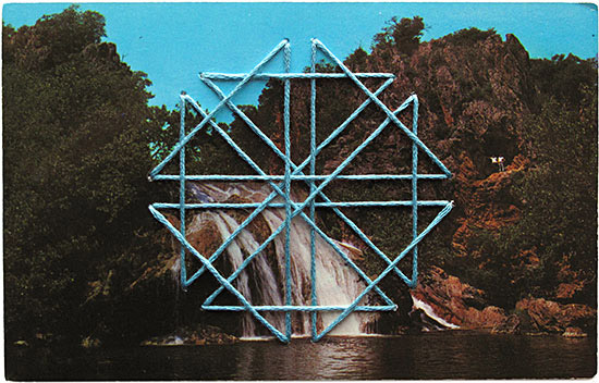 Shaun Kardinal embroidery vintage postcard star blue