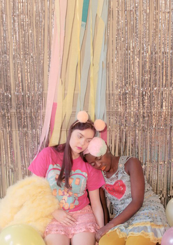 Pom pom headbands Miss World by Meadham Kirchhoff