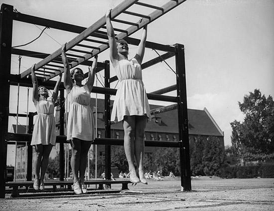 Vintage women exercising