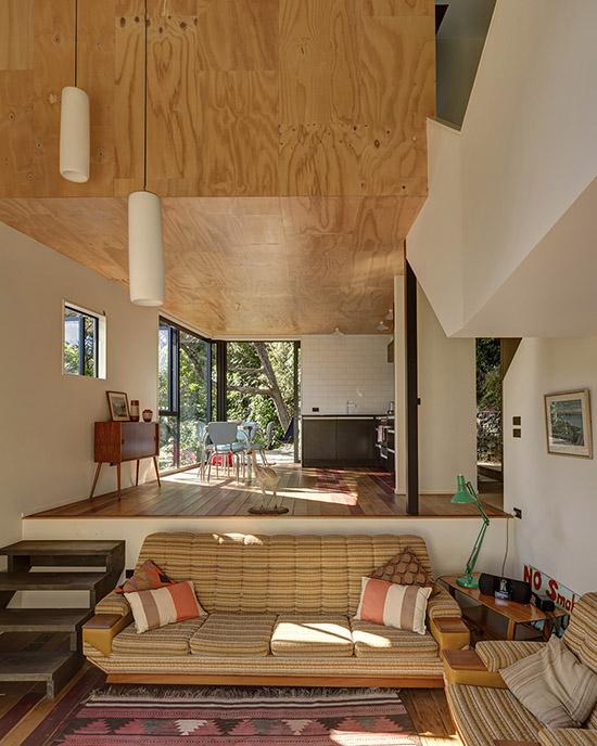 Blackpool House mid century modern design sunken living room New Zealand by Glamuzina Paterson Architects