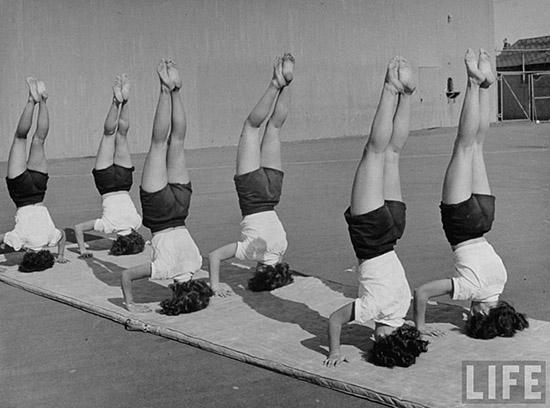 Vintage women exercising life magazine